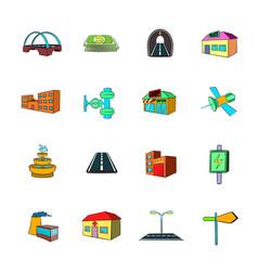 urban infrastructure icons set cartoon vector image vector image