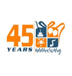 45 year gift box ribbon anniversa vector