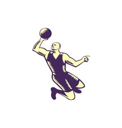 Basketball Player Dunk Ball Woodcut vector image
