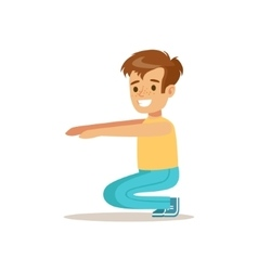 Boy Doing Sit Ups Kid Practicing Different Sports vector image