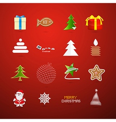 Christmas Icons on Red Background vector image vector image