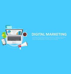 digital marketing banner computer with graphs vector image vector image