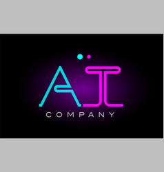 neon lights alphabet at a t letter logo icon vector image