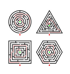 set of labyrinth different shapes for game with vector image