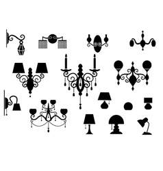 Sets of silhouette Lamp and Chandelier vector image