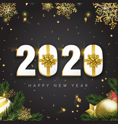 2020 new year card 3d gift holiday gold decoration vector image
