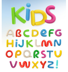 3d plastic font children and school set vector