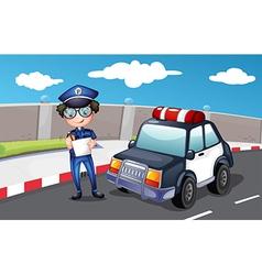 A policeman along the road vector image