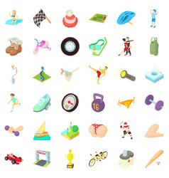 Activity life icons set cartoon style vector