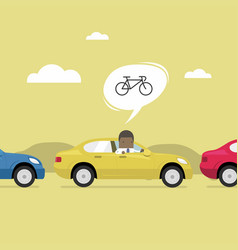 african businessman on the road with traffic jam vector image