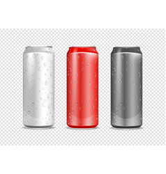 aluminium cans realistic water drops on drink vector image