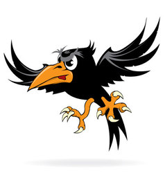 Angry cartoon crow vector