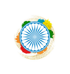 ashok chakra in indian tricolor background vector image