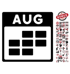 August Calendar Grid Flat Icon With Bonus vector image