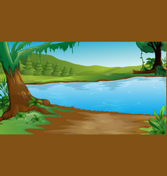 background scene with trees and lake vector image
