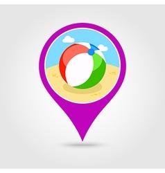 Beach ball pin map icon summer vacation vector