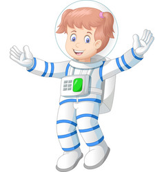 Beautiful astronaut woman in white blue suit vector