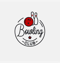 bowling ball logo round linear bowling pins vector image
