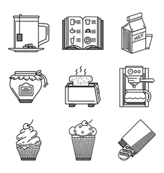 Breakfast black line icons vector image