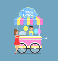 Bright street cart with tasty sweet candy cotton vector