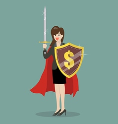 Business woman with shield and sword vector