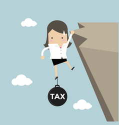 businesswoman hold on the cliff with tax burden vector image