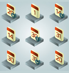 calendar color gradient isometric icons vector image