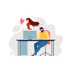 Cartoon man sit chair office table romantic mood vector