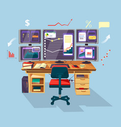 cartoon trader financial analyst workplace vector image