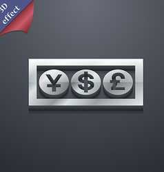Cash currency icon symbol 3D style Trendy modern vector