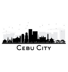 Cebu city skyline black and white silhouette vector