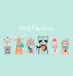 Christmas card with animals hand drawn style vector