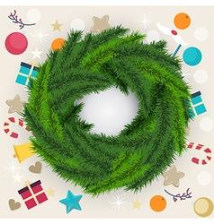 Circular Christmas wreath of pine or fir foliage vector