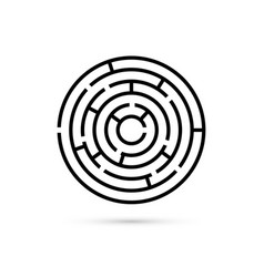 Circular maze with way to center business vector