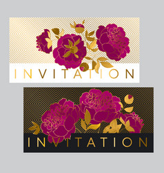 Classic purple peony card with gold outline vector