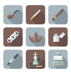 colored flat style various tobacco goods tools vector image