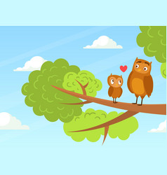 cute baowl and parent sitting on tree branches vector image