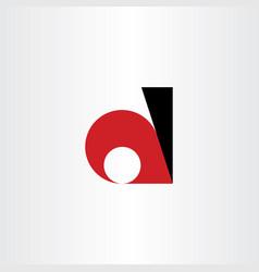 d logo letter red black icon geometric symbol vector image