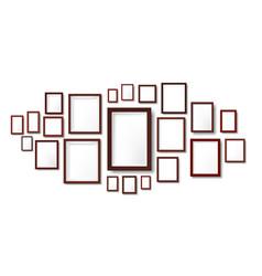 dark wooden frames composition mockup photo frame vector image