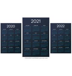english calendar 2010-2021-2022 template vector image