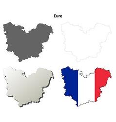 Eure upper normandy outline map set vector