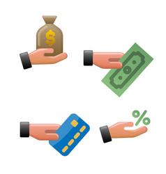 Finance earnings icons vector