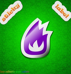 Fire flame icon sign Symbol chic colored sticky vector