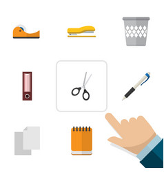 Flat icon stationery set of sheets clippers vector