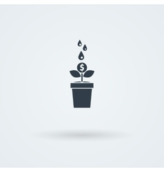 Flat icon with money tree vector