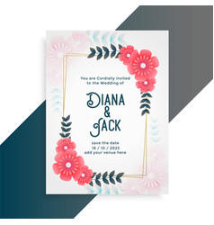 flower wedding card invitation template vector image