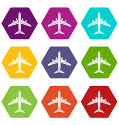 flying plane icons set 9 vector image