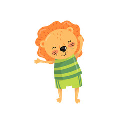 funny lion with orange mane dressed in sportswear vector image