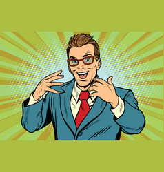 gesticulating joyful businessman with glasses vector image