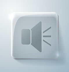 Glass square icon loudspeaker vector image